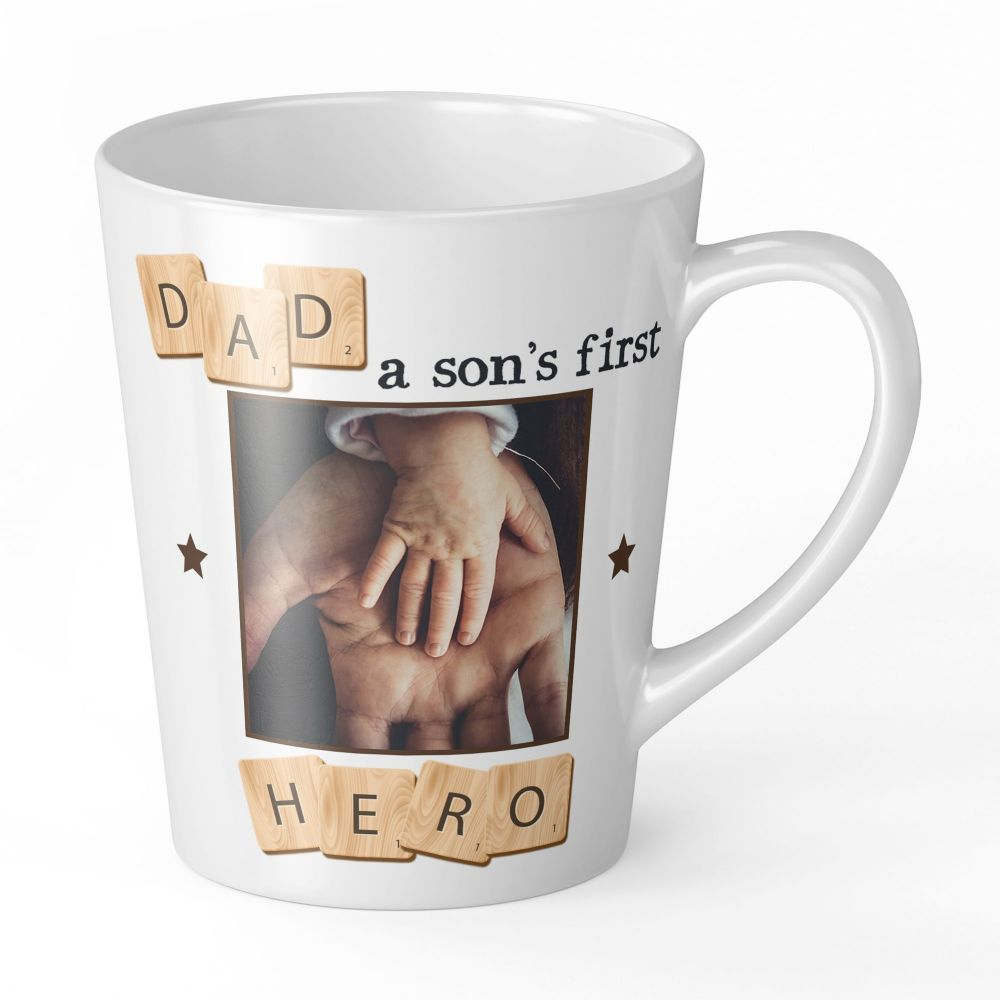 12oz Personalised Dad, A Son's First Hero Novelty Gift Latte Mug
